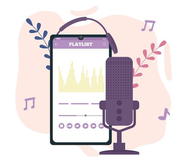 Mikrofon, strona internetowa, słuchawki. podcast, radio. płaska ilustracja wektorowa