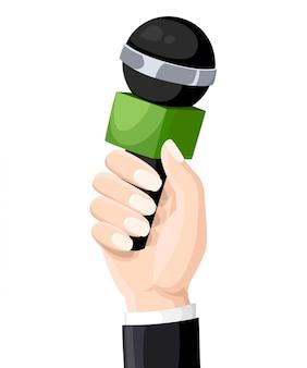 Mikrofon w rękach reportera. mikrofon na białym tle. telewizja, wywiad. ilustracja.