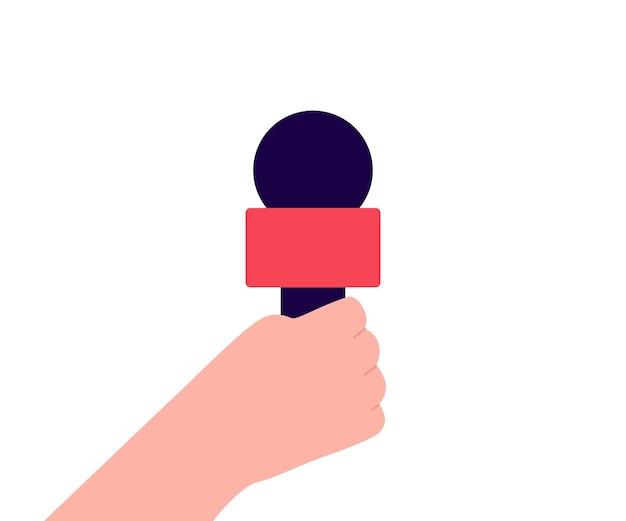 Mikrofon w ręku do wywiadu, audycji, gorących wiadomości w radiu lub telewizji. mikrofon, mikrofon obiekt. płaska ilustracja