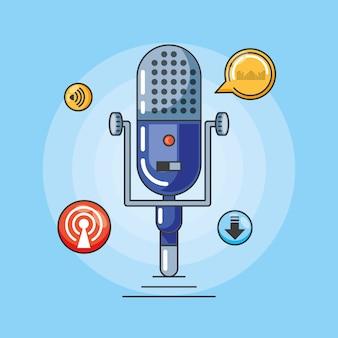 Mikrofon z gadżetami cyfrowego studia audio