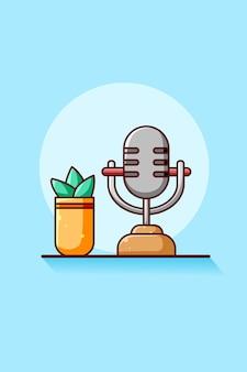 Mikrofon z roślinami ikona ilustracja kreskówka