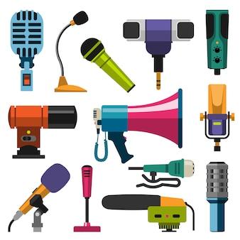 Mikrofon zestaw ilustracji wektorowych.