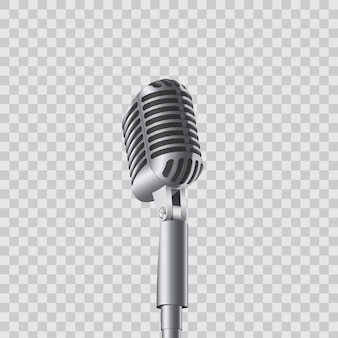 Mikrofony koncertowe retro vintage na stoisku.