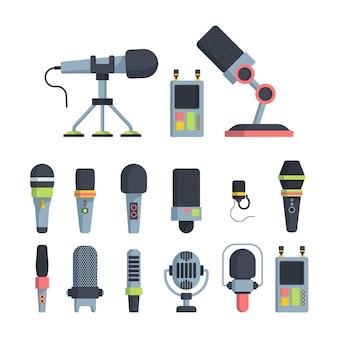 Mikrofony muzyczne i telewizyjne płaskie ilustracje wektorowe zestaw