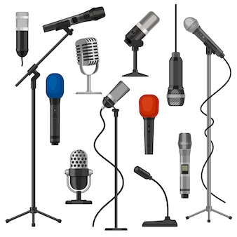 Mikrofony na stojakach. mikrofon dla wokalisty z przewodem do występów na scenie. sprzęt do nagrywania dźwięku w studiu muzycznym. kreskówka radio mikrofon wektor zestaw. ilustracja mikrofon do nadawania i rozrywki