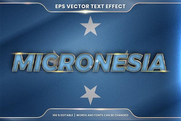 Mikronezja z flagą kraju, edytowalny styl efektu tekstu z koncepcją gradientu w kolorze złotym