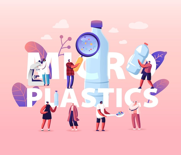 Mikroplastik w koncepcji wody i żywności. globalne zanieczyszczenie oceanów. problem. ilustracja kreskówka