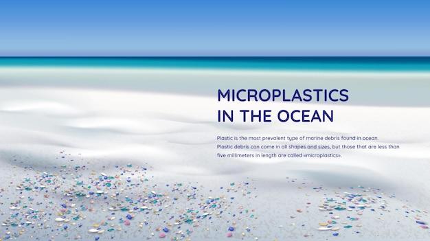 Mikroplastiki w realistycznej ilustracji oceanu z wybrzeżem morskim i zanieczyszczoną wodą