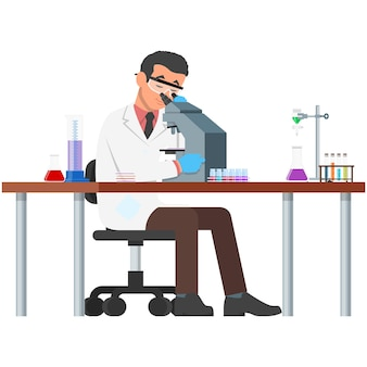 Mikroskop naukowiec człowiek w laboratorium na białym tle