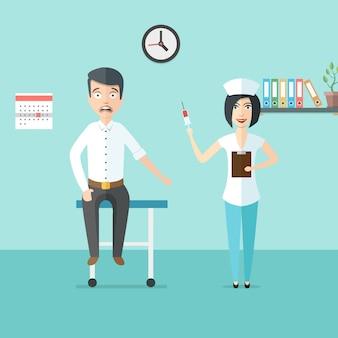 Miła kobieta lekarz lub pielęgniarka ze strzykawką w ręku i przestraszony mężczyzna. lekarz i pacjent w gabinecie lekarzy. ilustracja opieki zdrowotnej w nowoczesnym stylu płaski