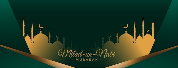 Milad un nabi banner ze złotym projektem meczetu