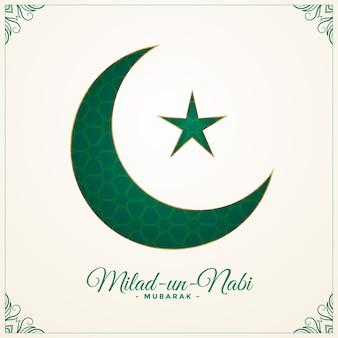 Milad un nabi zielony księżyc i tło gwiazdy
