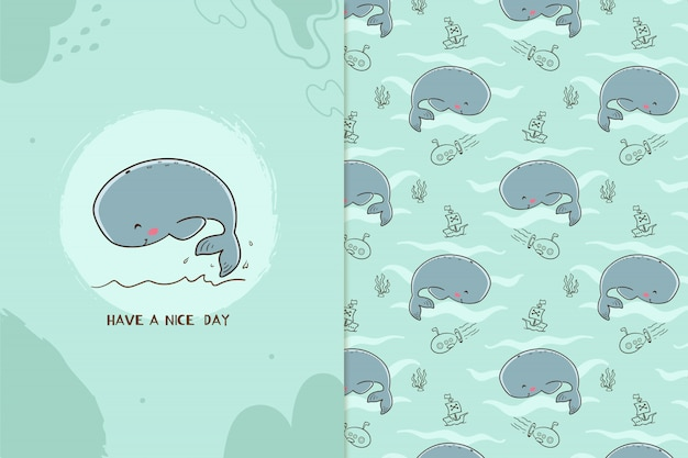 Miłego dnia wzór wieloryba