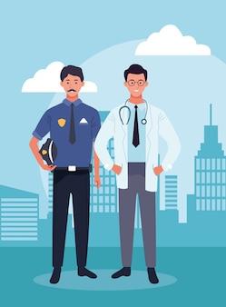 Milicyjny mężczyzna i lekarka stoi nad miastowymi miasto budynkami scenary