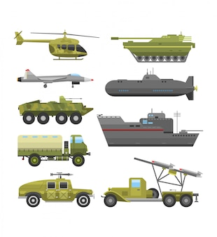 Militarna technika transportu zbroi mieszkania ilustracja.