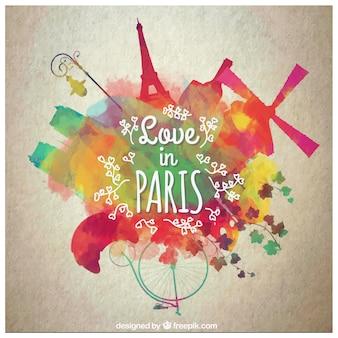 Miłość akwarela w paryżu