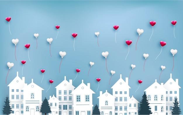 Miłość balony latają nad miastem