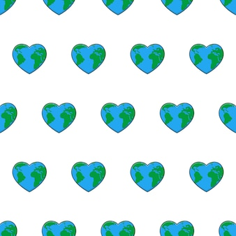 Miłość bez szwu wzór na białym tle. zapisz ilustracji wektorowych motywu ziemi