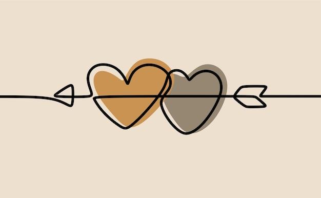 Miłość bliźniacza strzałka w kształcie serca w jednej linii ciągłej sztuki