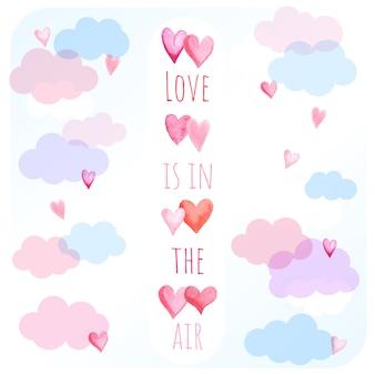 Miłość chmury w tle