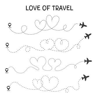 Miłość do podróży trasa podróży samolotem jest sercem romantycznej kochanki.