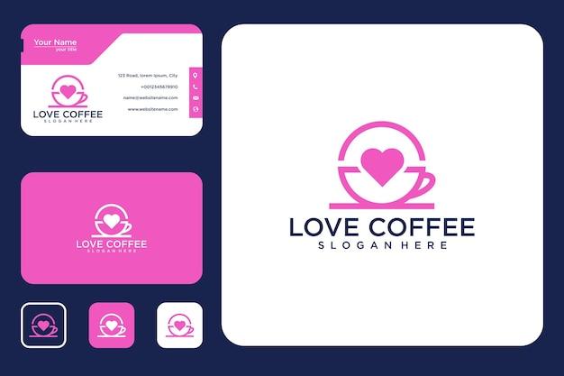 Miłość do projektowania logo kawy i wizytówki