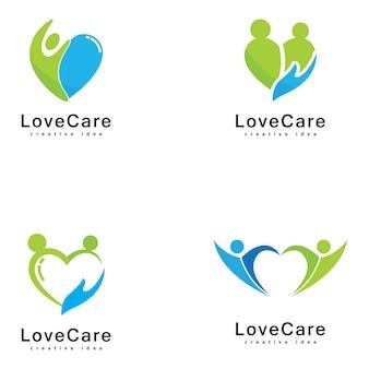 Miłość do projektowania logo opieki nad ludźmi