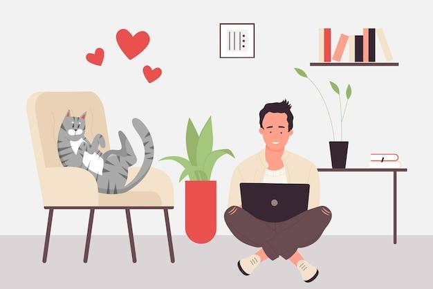 Miłość do zwierząt domowych właściciel zwierząt domowych z przyjacielem kota szczęśliwy człowiek siedzący na podłodze kot leżący na krześle