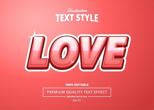 Miłość efekt tekstowy programu illustrator