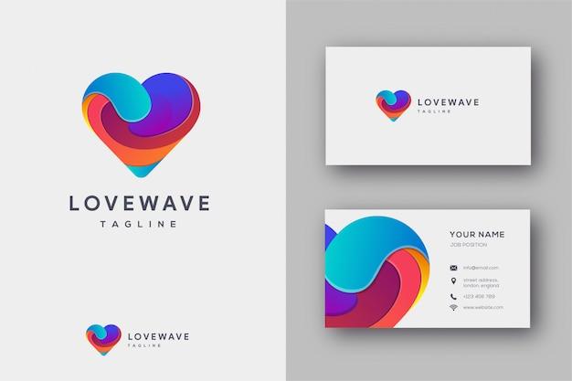 Miłość fali logo i wizytówki