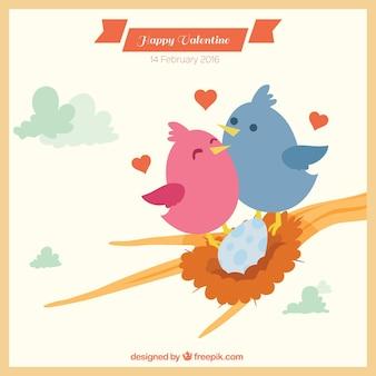 Miłość gniazdo valentine tle
