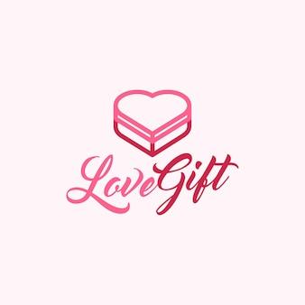 Miłość i prezent monoline kreatywne projektowanie logo