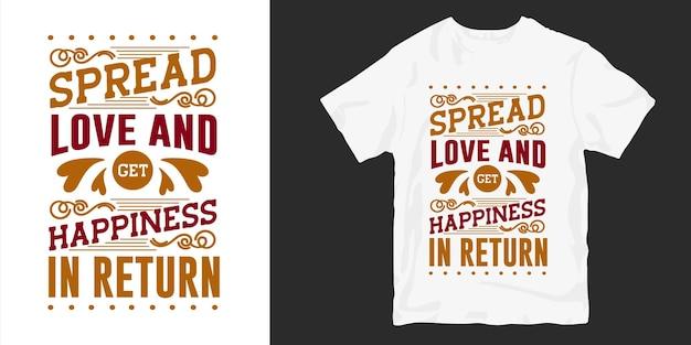 Miłość I Romantyczne Cytaty Z Napisem T-shirt Typografii Premium Wektorów