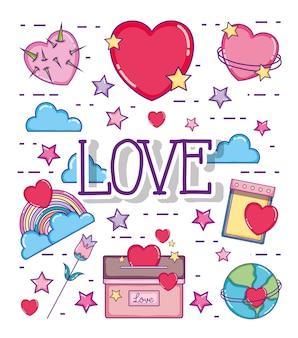 Miłość i serce karcianych ślicznych kreskówek wektorowy ilustracyjny graficzny projekt