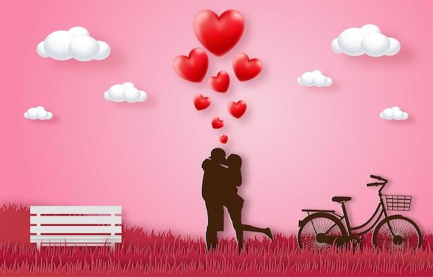 Miłość i szczęśliwe walentynki banery, papierowy styl wektor premium