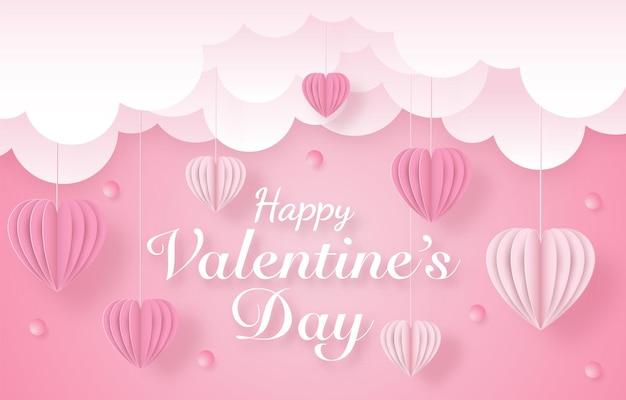 Miłość i szczęśliwe walentynki banery, styl sztuki papieru