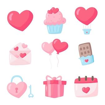 Miłość i walentynki zestaw ikon na białym tle