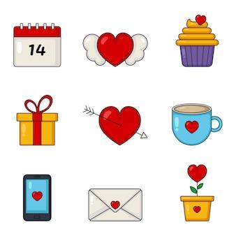 Miłość i walentynki zestaw ikon na białym tle.