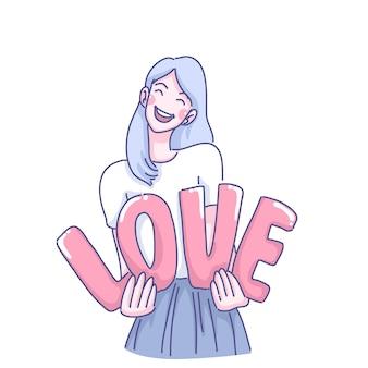 Miłość ilustracja kreskówka dziewczyna