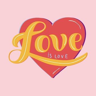 Miłość jest miłością typografia projekt ilustracja