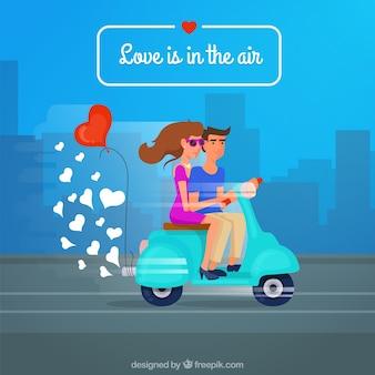 Miłość jest w powietrzu, para jazdy na motocyklu