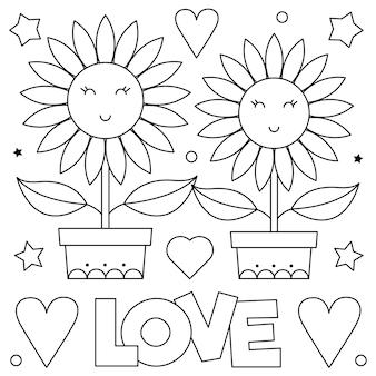 Miłość. kolorowanka. kilka kwiatów.