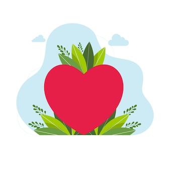 Miłość koncepcja serca z liśćmi na tle czerwone serce wektor logo szablon ilustracja koncepcja. znak miłości. kreatywny symbol walentynki. element projektu streszczenie. ilustracja wektorowa