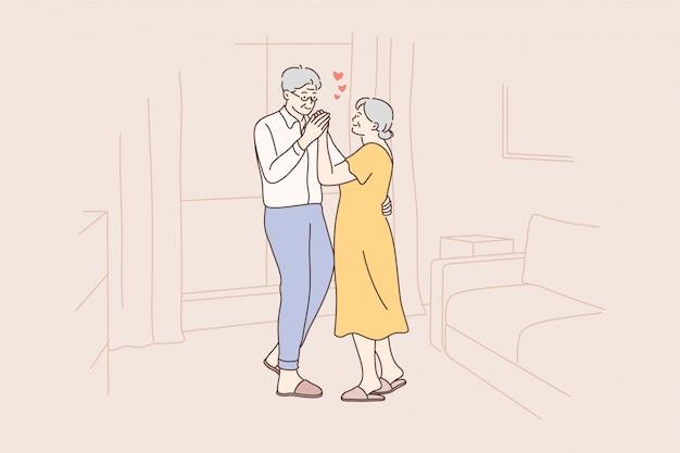 Miłość koncepcja tańca para zabawa data