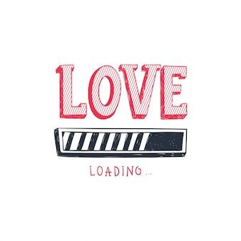 Miłość ładuje. projekt paska postępu.