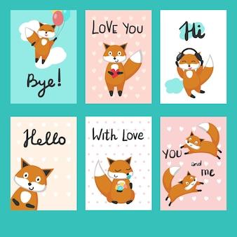 Miłość lisy karty z pozdrowieniami wektor zestaw szablonów