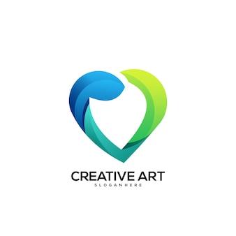 Miłość logo gradient kolorowy design