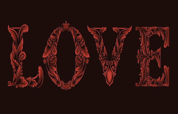 Miłość logo z grawerowanym stylem ornamentu