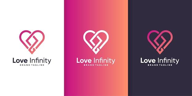 Miłość logo z koncepcją nieskończoności, abstrakcyjny kształt serca