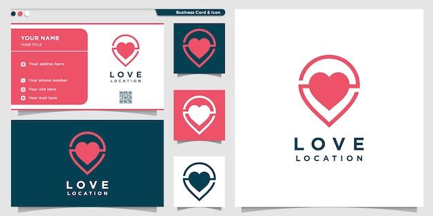 Miłość logo z nowoczesną koncepcją i szablonem projektu wizytówki